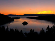 Sunrise over Emerald Bay at Lake Tahoe, California, USA. Lake Tahoe is the largest alpine lake in North America Stock Photography