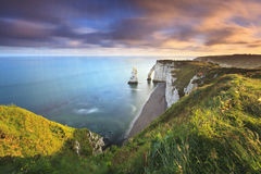 Sunrise over Etretat Stock Images