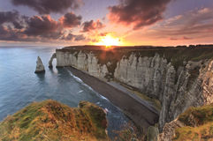Sunrise over Etretat, France Stock Photos