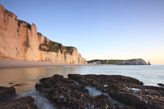 France ,Sunrise over Etretat, Normandy stock images