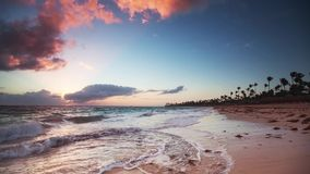 Sunrise over Exotic Beach in Dominican Republic, Punta Cana. Beautiful sunrise over the tropical beach in Punta Cana, Dominican Republic stock footage