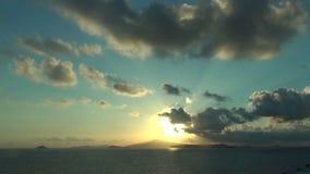 Sunrise over exotic island stock footage