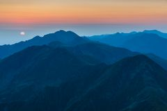 Sunrise over the Fagaras Mountains, Southern Carpathians Royalty Free Stock Image
