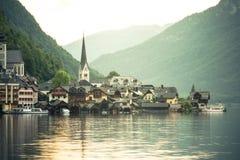 Sunrise over famous Hallstatt fisherman village, Austria royalty free stock images