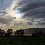 Sunrise over farm land in Longnor, Peak District Royalty Free Stock Images
