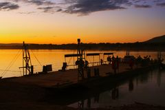 Sunrise over the Ferry Boat on the Sao Francisco River royalty free stock images