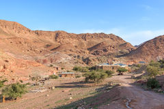 Sunrise over Feynan ecolodge, in Jordan Stock Image