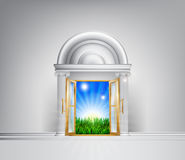 Sunrise over fields through grand entrance Stock Photos