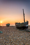 Sunrise over Fishing Boats on a Beach Stock Photo