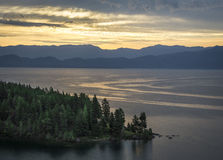 Sunrise. Over Flathead Lake Montana Royalty Free Stock Image