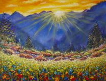 Sunrise over a flower meadow in the mountains. Original oil painting of sunrise over a flower meadow in the mountains on canvas. Modern Impressionism Art Royalty Free Stock Photo