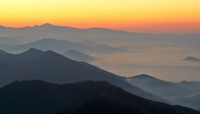 Sunrise over the fog Royalty Free Stock Photography
