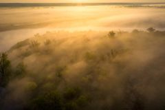Sunrise over foggy riverbank. Fog on river aerial view. Misty river in sunlight from above. Sunrise over foggy riverbank. Fog on river side aerial view. Misty stock images