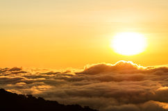 Sunrise over foggy valley mountains Royalty Free Stock Photo