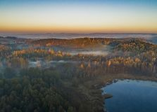 Sunrise over forests and lakes - drone view. Bueatiful landscape in the morning - aerial drone view from Poland stock image