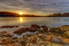 Sunrise over Freycinet Penninsula royalty free stock photo