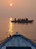 Sunrise Over the Ganges River in Varanasi, Uttar Pradesh, India Stock Photo