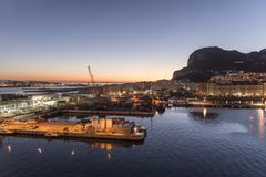 Sunrise over Gibraltar from MS Queen Elizabeth.  Royalty Free Stock Photos