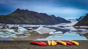 Sunrise over glacier stock video