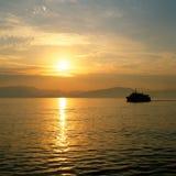 Sunrise over the greek islands. Sun rising over the greek island of Corfu stock photo