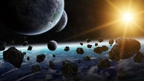 Sunrise over group of planets in space Stock Images