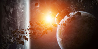 Sunrise over group of planets in space. View of a sunrise on a distant planet system in space vector illustration