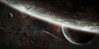 Sunrise over group of planets in space. View of a sunrise on a distant planet system in space royalty free illustration