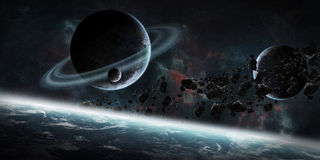 Sunrise over group of planets in space. View of a sunrise on a distant planet system in space stock illustration