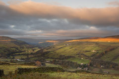 Sunrise over Gunnerside in Swaledale in Yorkshire Dales National Royalty Free Stock Photography