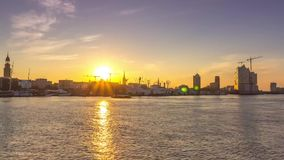 Sunrise over Hamburg stock video footage