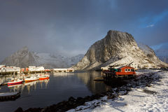 Sunrise over the Hamnoy village in winter Stock Photos