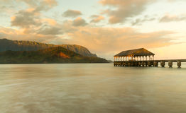 Sunrise over Hanalei Bay Kauai Hawaii Stock Photos