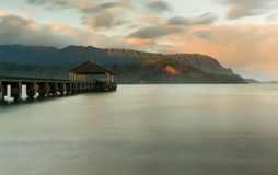 Sunrise over Hanalei Bay Kauai Hawaii Stock Images