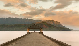 Sunrise over Hanalei Bay Kauai Hawaii Royalty Free Stock Image