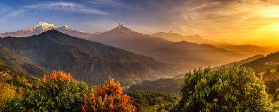 Sunrise over Himalaya mountains. Sunrise over Annapurna. Annapurna is a collection of mountains in the Himalayas near Pokhara in Nepal Stock Images
