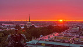Sunrise over historic center from the colonnade of St. Isaac's Cathedral timelapse. stock footage