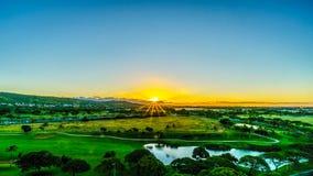Sunrise over the horizon at the resort community of Ko Olina on the island of Oahu Stock Photography