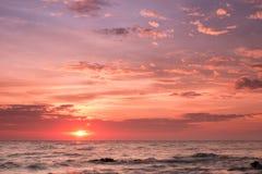 Sunrise over the Horizon of the Sea. Chonburi, Thailand Stock Image