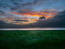 Sunrise over the Humber Estuary, east England Stock Images