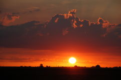 Sunrise over Illinois. Sunrise between Mahomet and Monticello Royalty Free Stock Images