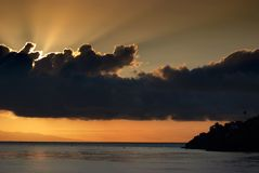 Sunrise Over the Indian Ocean in Bali, Indonesia. Royalty Free Stock Image