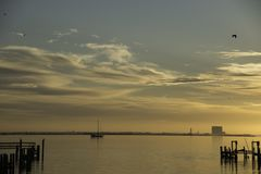 Sunrise Over Indian River in Titusville, Florida Royalty Free Stock Image