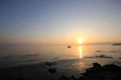 Sunrise over the Ionian sea Royalty Free Stock Photo