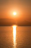 Sunrise over the Ionian Sea. Sunrise on the water. Greece Stock Photos