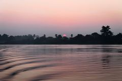 Sunrise over the Irrawaddy River stock photo