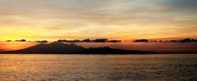 Sunrise over the Island of Lombok in Indonesia Royalty Free Stock Image