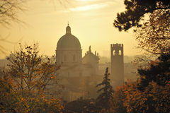 Sunrise over Italian city Stock Photo