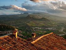 Sunrise over Italian hills. Italy Stock Photo