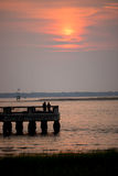 Sunrise over a jetty Royalty Free Stock Photo