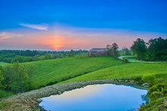 Sunrise Over Kentucky Farm with Pond